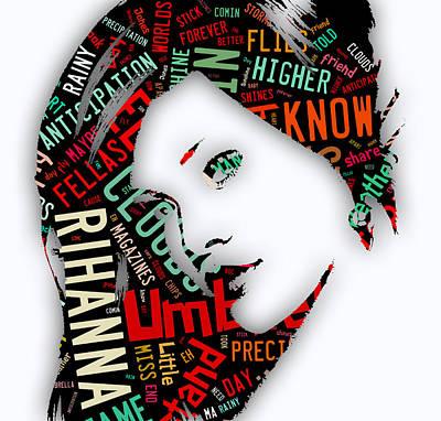 Rihanna Mixed Media - Rihanna Umbrella Lyrics by Marvin Blaine