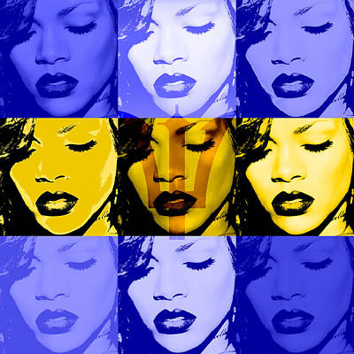 Rihanna Digital Art - Rihanna Warhol Barbados By Gbs by Anibal Diaz