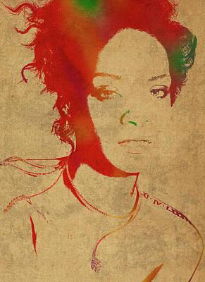 Rihanna Wall Art - Mixed Media - Rihanna Watercolor Portrait by Design Turnpike