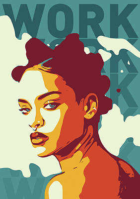 Rihanna Digital Art - Rihanna by Greatom London