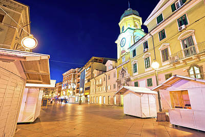 Photograph - Rijeka Main Square Korzo Evening View by Brch Photography