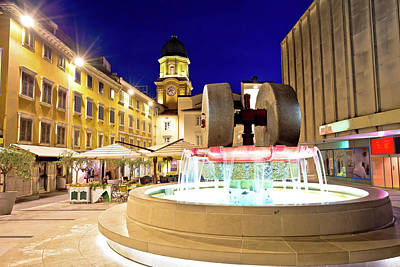 Photograph - Rijeka Square And Fountain Evening View With Clock Tower Gate by Brch Photography