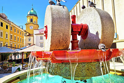 Photograph - Rijeka Square And Fountain View With Clock Tower Gate by Brch Photography