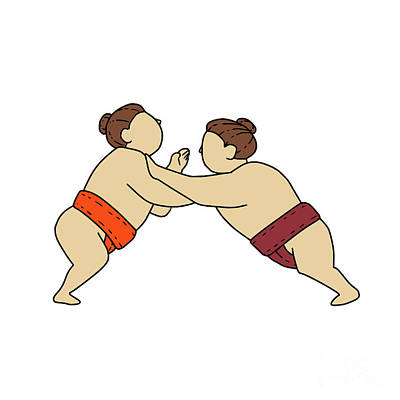 Sumo Digital Art - Rikishi Sumo Wrestler Pushing Side Mono Line by Aloysius Patrimonio