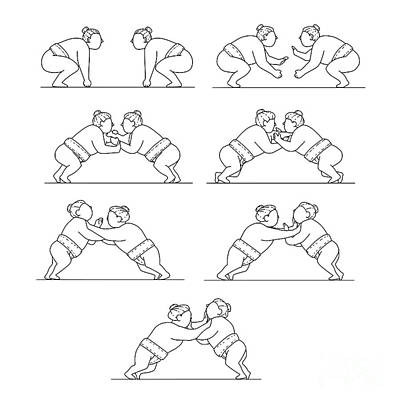 Sumo Digital Art - Rikishi Sumo Wrestlers Wrestling Mono Line Collection Set by Aloysius Patrimonio