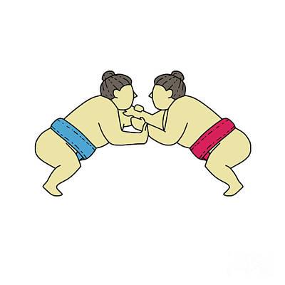 Sumo Digital Art - Rikishi Sumo Wrestlers Wrestling Side Mono Line by Aloysius Patrimonio