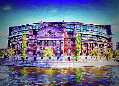 Stockholm Digital Art - Riksdagshuset In Painting by Ramon Martinez