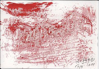 Rila Monastery Red Art Print by De Fago