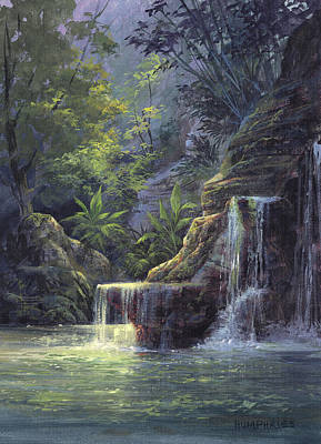 Painting - Rim Lit Falls by Michael Humphries