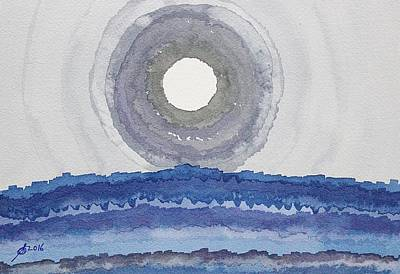 Night Sky With Moon Painting - Rim Of The Moon Original Painting by Sol Luckman