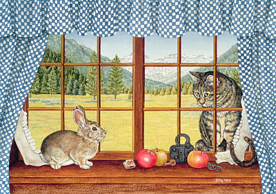 Window Signs Painting - Rimrock Cottontail by Ditz