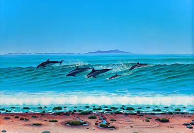 Tim Painting - Rincon Dolphins by Tim Laski