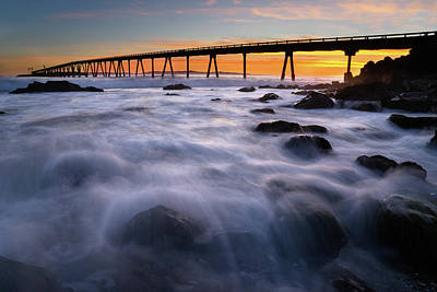 Rincon Beach California Photograph - Rincon Island Pier  by Stephen Mori Photography