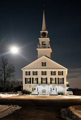 Photograph - Rindge Meeting House At Full Moon by Gordon Ripley
