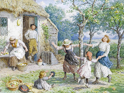 Myles Birket Foster Drawing - Ring A Ring A Roses by Myles Birket Foster