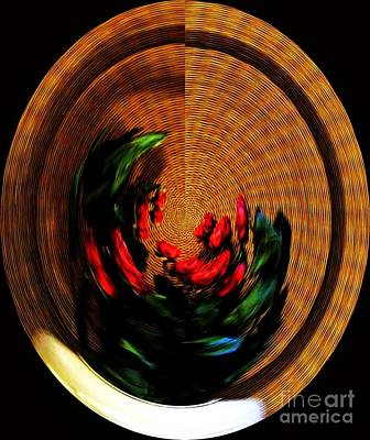 Abstract Rose Oval Digital Art - Ring Around The Roses by Marsha Heiken