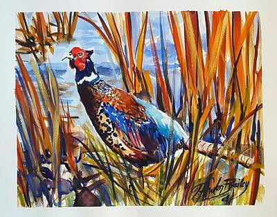 Painting - Ring Neck Pheasant By Tfb by Therese Fowler-Bailey