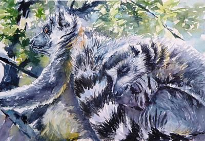 Lemur Painting - Ring-tailed Lemurs 13 by Kovacs Anna Brigitta