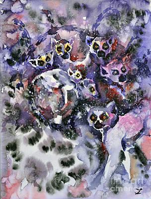 Painting - Ring-tailed Lemurs by Zaira Dzhaubaeva