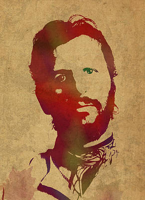 Ringo Starr Beatles Watercolor Portrait Art Print by Design Turnpike