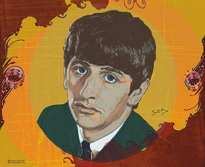 Starkey Drawing - Ringo Starr by Suzanne Gee