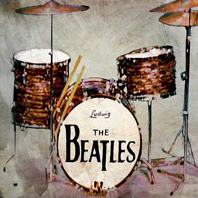 Fab Four Digital Art - Ringo's Drums by Bill Cannon
