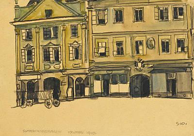 Drawing - Ringplatz-krummau by Egon Schiele