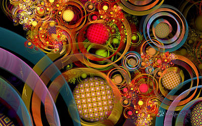 Fractal Orbs Digital Art - Rings Around The Bubbles by Peggi Wolfe