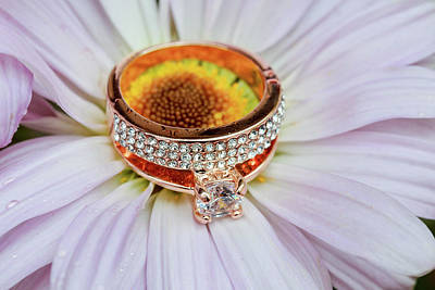 Floral Engagement Ring Photograph - rings on white daisy love Valentine's Day  gerbera and wedding gold  by Valentyn Semenov