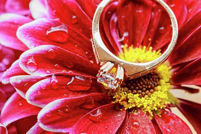 Gemstone Engagement Ring Photograph - rings pink dahlias love Valentine's Day Tinted  and softened - diamond wedding  by Valentyn Semenov