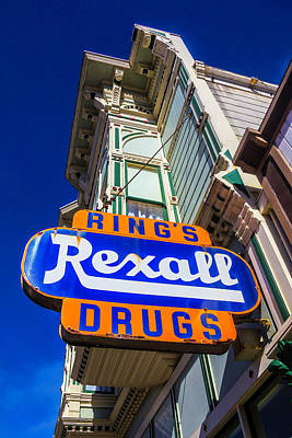 Drugstores Photograph - Rings Rexall Drugs Sign by Garry Gay