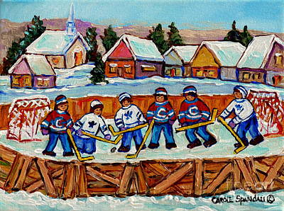 Painting - Rink Hockey Game In The Country Winter Village Snowscene Canadian Landscape C Spandau Quebec Artist  by Carole Spandau