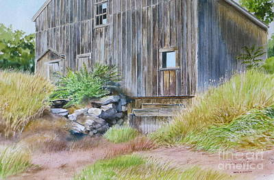 Old Panelled Door Painting - Rinky Dink Barn by Karol Wyckoff