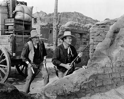 1959 Movies Photograph - Rio Bravo, Walter Brennan, John Wayne by Everett