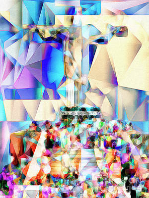 Print featuring the photograph Rio Christ The Redeemer In Abstract Cubism 20170327 by Wingsdomain Art and Photography