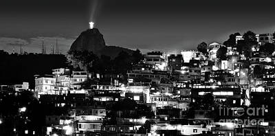 Photograph - Rio De Janeiro - Christ The Redeemer On Corcovado, Mountains And Slums by Carlos Alkmin