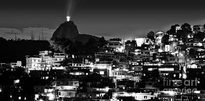 Photograph - Rio De Janeiro - Christ The Redeemer On Corcovado, Mountains And Slums by Carlos Alkmin