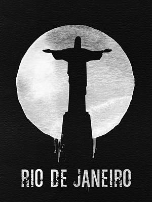 Moon Wall Art - Painting - Rio De Janeiro Landmark Black by Naxart Studio