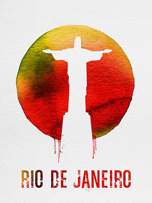 South America Wall Art - Painting - Rio De Janeiro Landmark Red by Naxart Studio