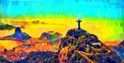 Sunrise Painting - Rio De Janeiro Panoramic 2 - Pa by Leonardo Digenio