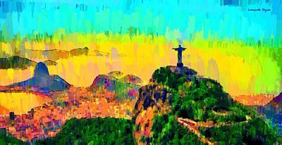 Blue Sea Painting - Rio De Janeiro Panoramic - Pa by Leonardo Digenio
