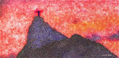 Religion Digital Art - Rio De Janeiro Red Sunset - Da by Leonardo Digenio