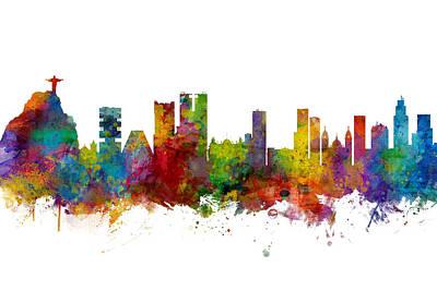 Digital Art - Rio De Janeiro Skyline Brazil by Michael Tompsett