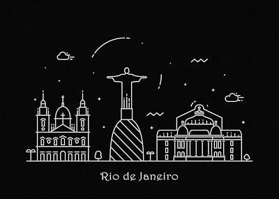 Drawing - Rio De Janeiro Skyline Travel Poster by Inspirowl Design