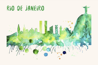 Painting - Rio De Janeiro Skyline Watercolor Poster - Cityscape Painting Artwork by Beautify My Walls