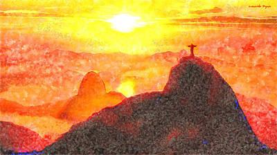Catholic Digital Art - Rio De Janeiro Sunset - Pa by Leonardo Digenio