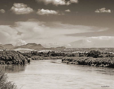 Photograph - Rio Grande In Sepia by Allen Sheffield