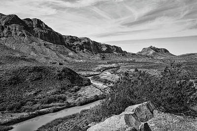 Photograph - Rio Grande River 5 Black And White by Judy Vincent