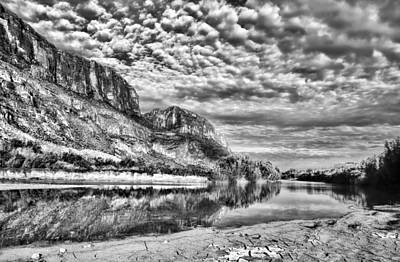 Photograph - Rio Grande River Black And White by Judy Vincent