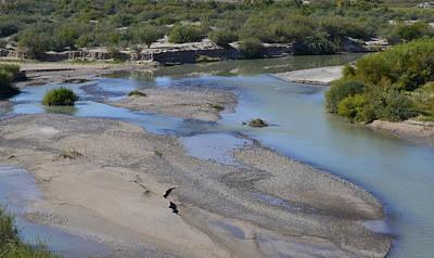 Photograph - Rio Grande River Blue Sky Reflection by Nadalyn Larsen